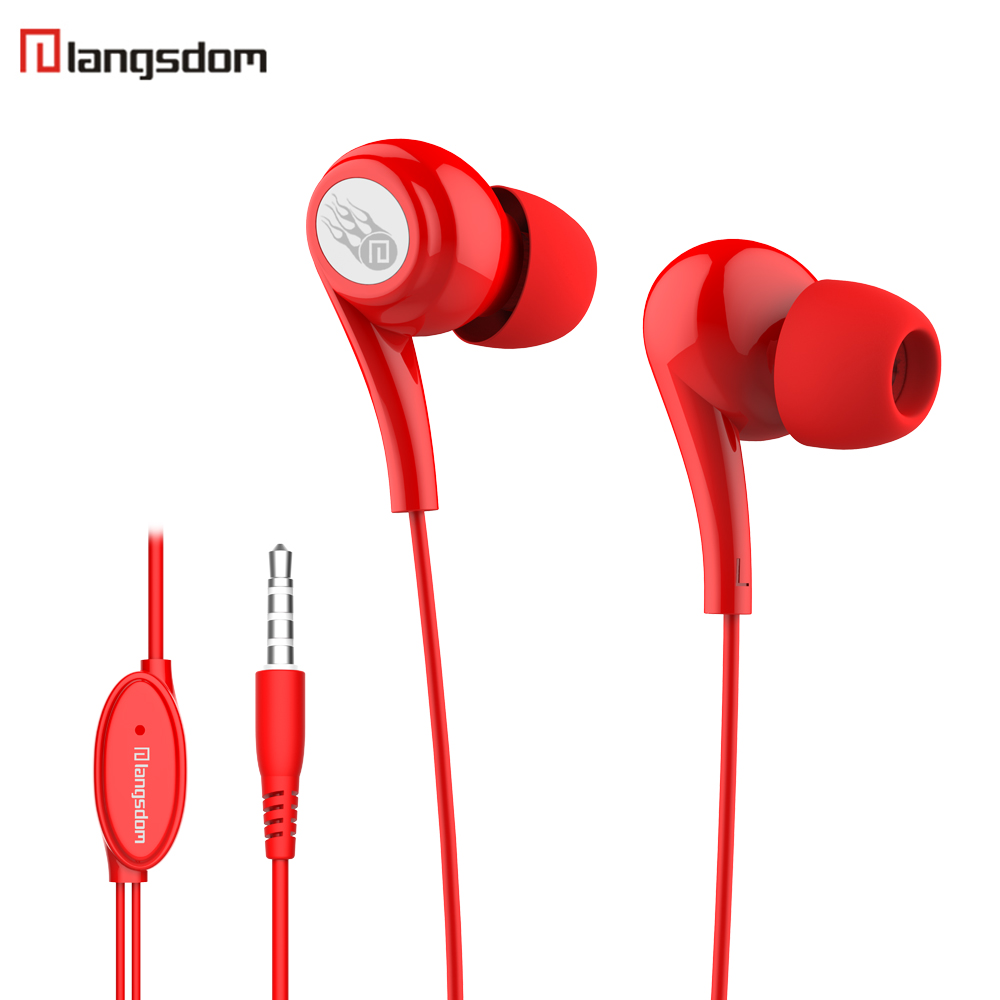 Langsdom JD91 Earphone In Ear Candy Color Headset Heavy Bass Effect Earbuds with Microphone for iPhone Xiaomi Android Phone Hot urbanfun exclusive design hybrid 2 way earphone with beryllium diaphragm with microphone for iphone android phone
