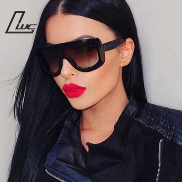 a3075304f0 Oversized Sunglasses Women Rivet Brand Designer Celebrity Kim Kardashian  Sexy Sun Glasses for Women Flat Top