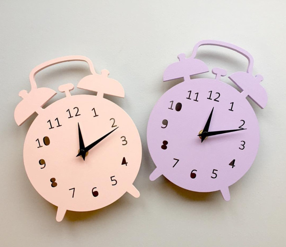 Alarm Clock Mute Shape Wooden Cartoon Wall Clocks Decoration Birthday Present Children'S Room Living Room Wall Decor 1Piece