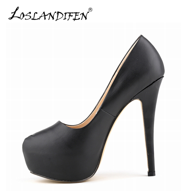 4e8bd37b57 LOSLANDIFEN Sexy Platform Pumps Women Matte Leather High Heels Shoes Woman  Casual Party Shoes Ladies Black