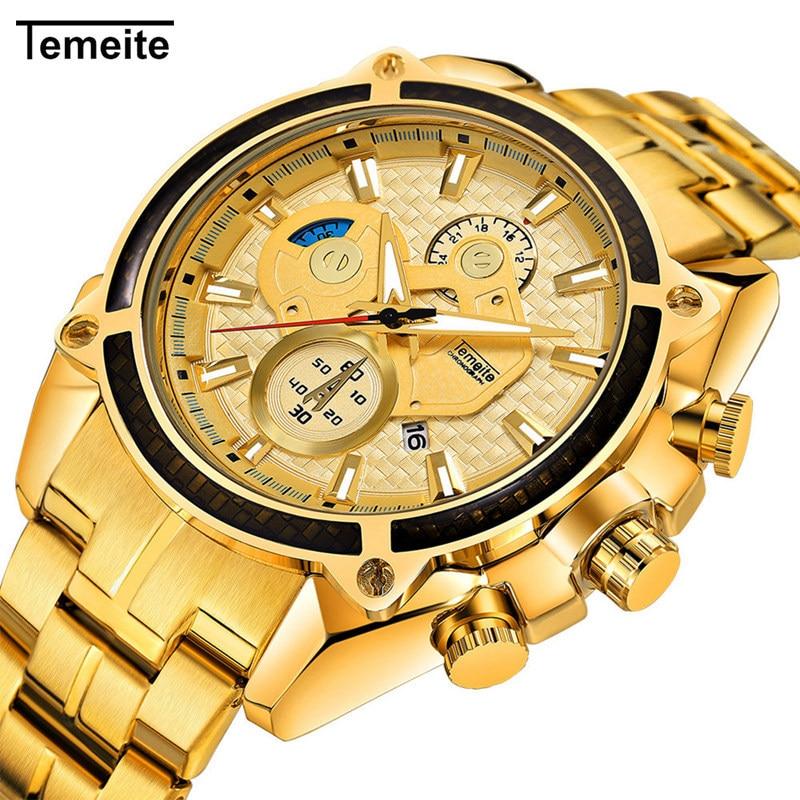 Temeite Luxury Gold Watch Men Stainless Steel Waterproof Sport Quartz Watches Mens Brand Fashion Casual Wristwatch Male Relogio