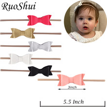 RuoShui Baby Elastic Headband Child Solid Hair Bow Kids Headwrap Hair Accessories Girls Hot Sale Turban Bandana for Party(China)
