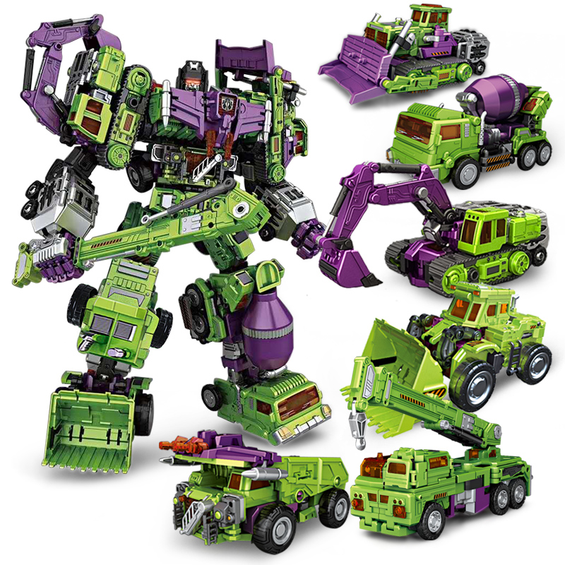 цена на IN-STOCK NBK6 IN 1 Bulldozer Bonecrusher Scrapper Mixmaster Hook Builder GT Devastator KO Transformation Engineering Figure Toys
