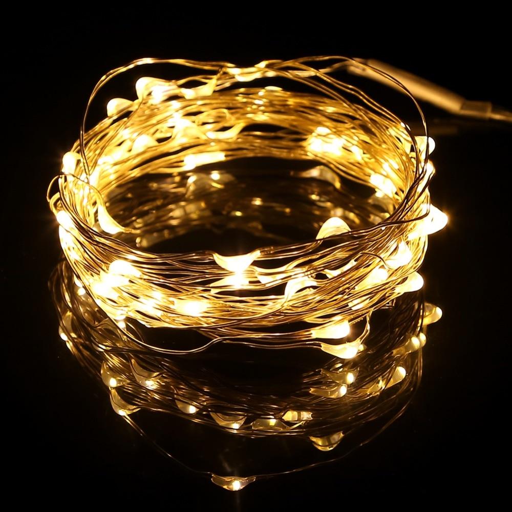 5M 50leds LED String Light Silver Wire DC4.5V 3XAA Batteridriven - Festlig belysning - Foto 1
