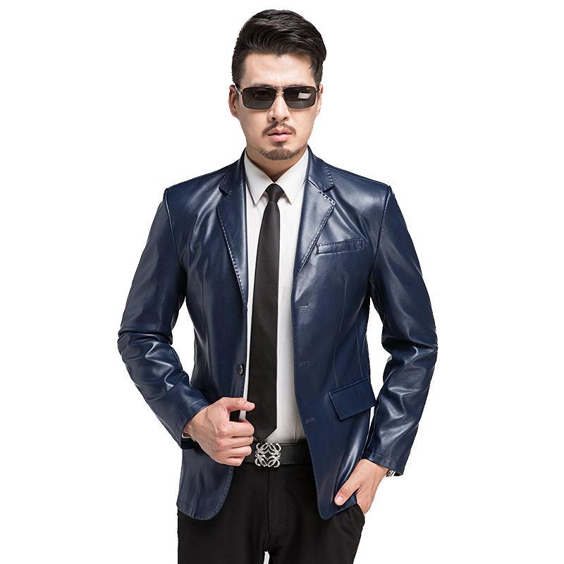 2016 hiver simple boutonnage col rabattu PU cuir blazer hommes, solide slim moderne hommes veste