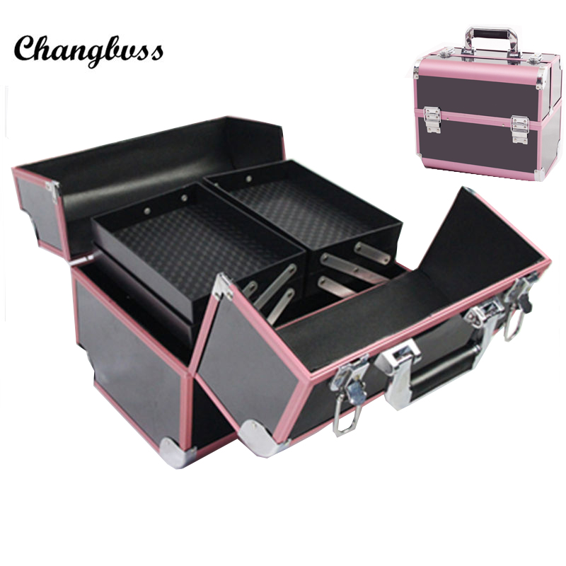 Color Blocking Design Portable Women Cosmetic Bag Travel Beauty Organizer PVC Vanity Case Profession Makeup Storage Box neceser