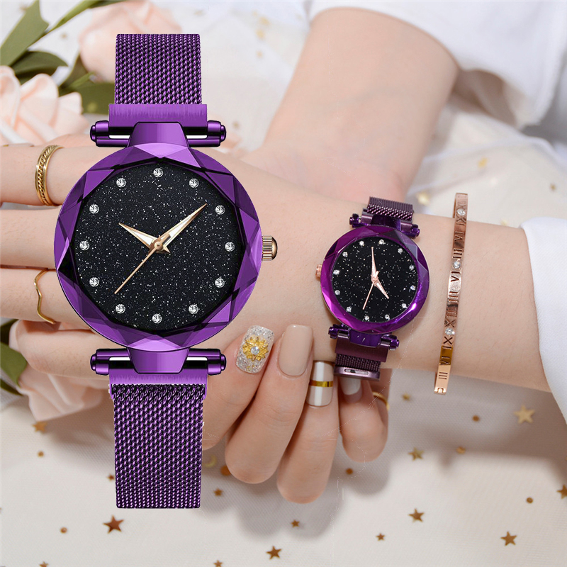 Luxury Women 39 s Watches Bracelet Ladies Magnetic Starry Sky Watches Female Quartz Clock Relogio Feminino Bayan Kol Saati 2019 Hot in Women 39 s Watches from Watches
