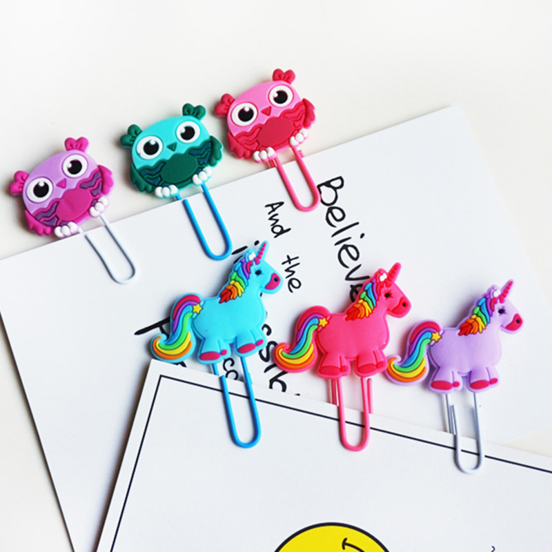 Cute Creative Unicorn Owl Paper Clip Bookmark Promotional Gift Stationery School Office Supply Escolar Papelaria