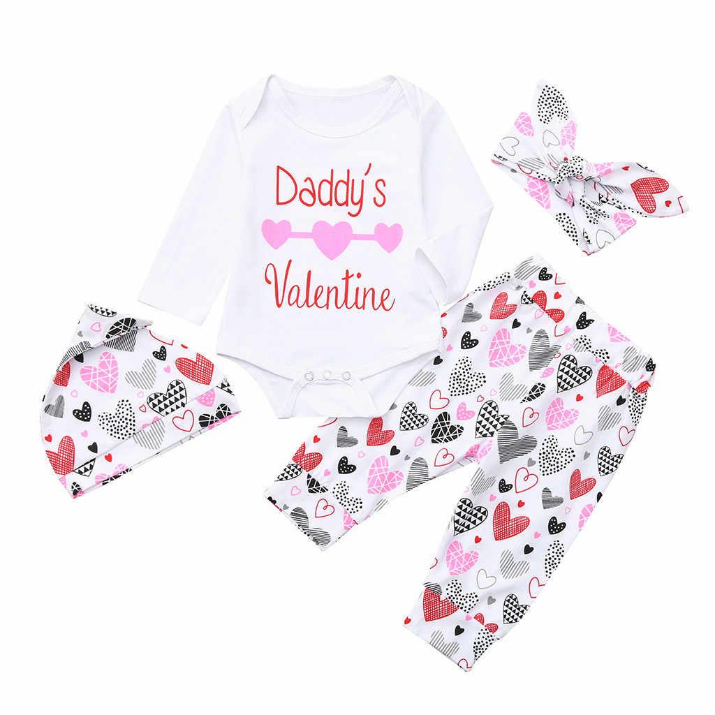Bebê meninos meninas definir topo e shorts manga longa carta amor impresso rendas + calças chapéu cinta de cabelo quatro peças define vestido casual