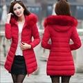 Плюс Размер 6XL 7XL Длинные женские Зимняя Куртка Женщин Парки 2016 женский Искусственного Меха Воротник Капюшоном Вниз Хлопок Теплое Пальто Для Женщин