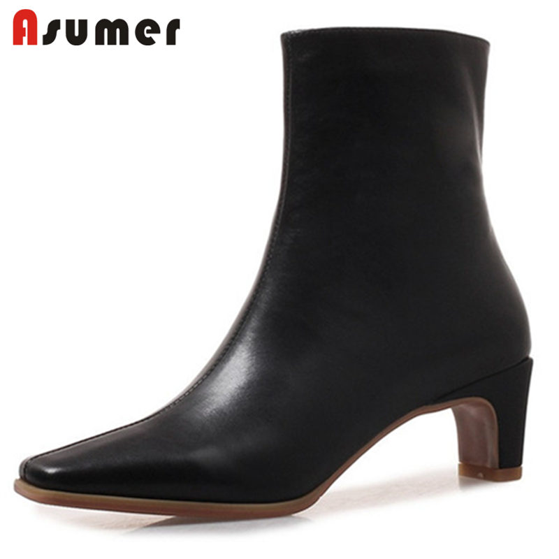 ASUMER SIZE 33-42 2018 NEW fashion genuine leather boots square toe high heels ankle boots women  zipper boots dressASUMER SIZE 33-42 2018 NEW fashion genuine leather boots square toe high heels ankle boots women  zipper boots dress