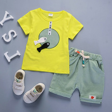 DIIMUU Summer Fashion Boys Girls Clothing Sets Toddler Infant Cotton Short Sleeve Pullovers T-Shirts Elastic Pants Outfits Suits