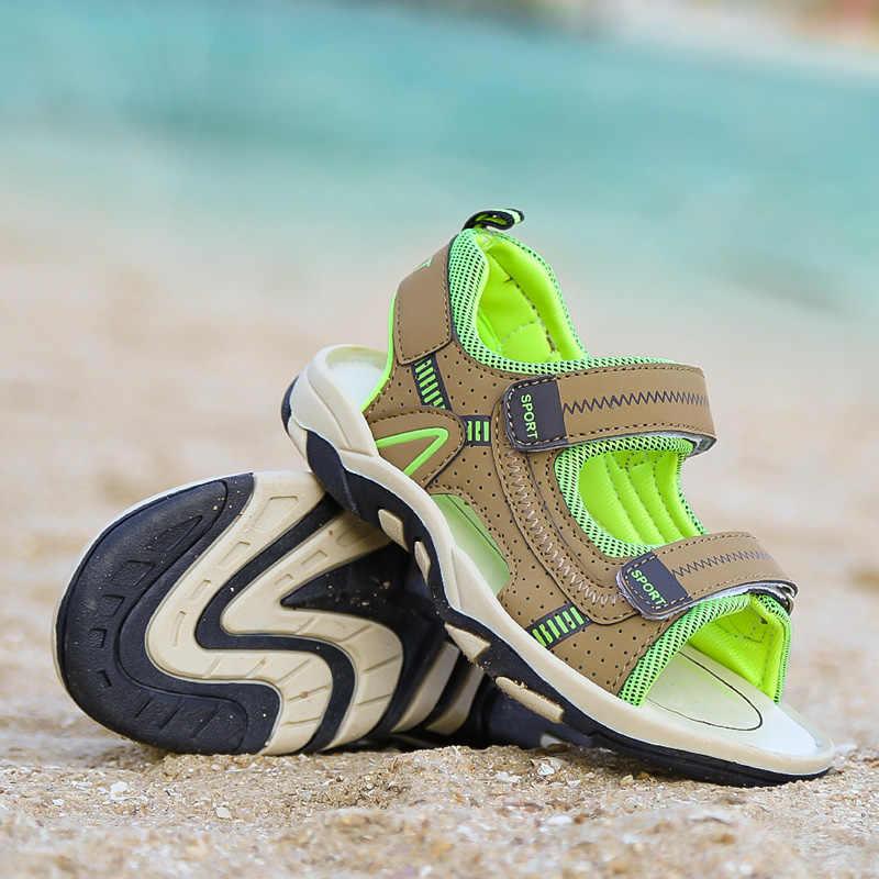 เด็กรองเท้าแตะเด็กรองเท้าแตะเด็กรองเท้าCUT-outsยางหนังรองเท้าBreathable Open Toe Casual Boyรองเท้าสีเขียวสีแดง