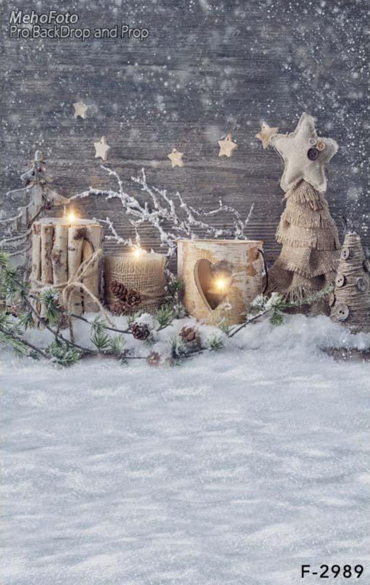 Star Gold Light Black Wood Snow Winter photo backdrop Vinyl cloth High quality Computer print christmas photo background