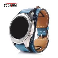 COCOTINA Genuine Leather Watchband Cuff Bracelet Genuine Leather Band Strap 22mm For Sumsung S3 Huawei Watch