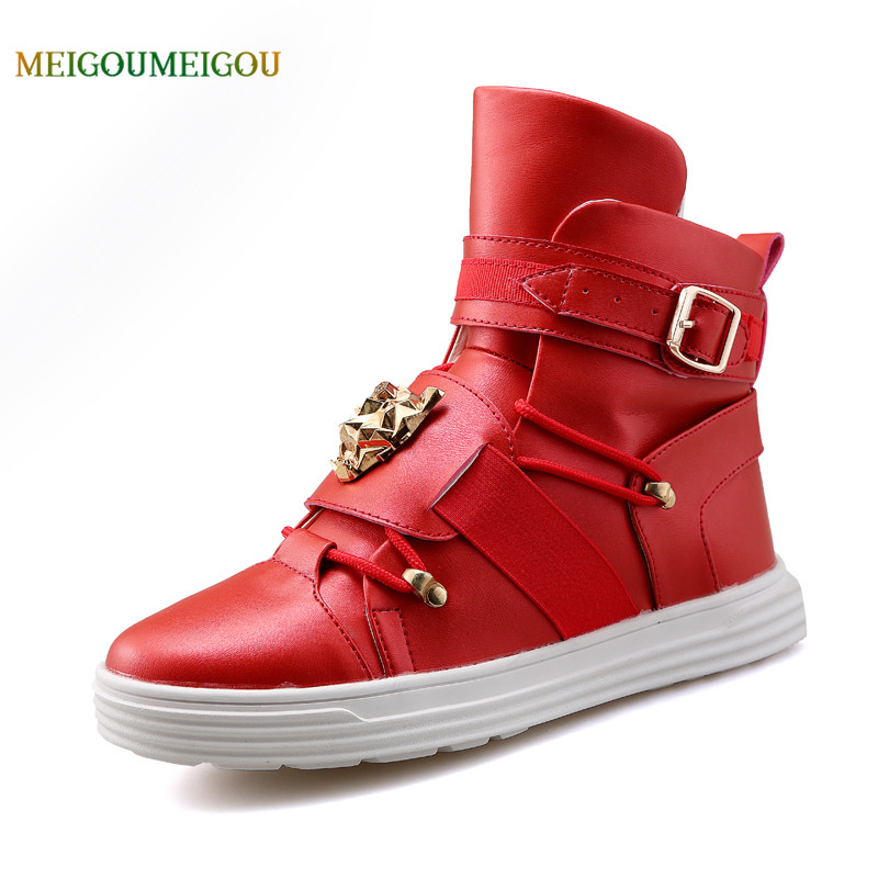 MEIGOUMEIGOU High Quality Cool Design Men Vulcanize Shoes Solid Waterproof Men Casual Shoes Stitching Buckle Strap Men Shoes stylish men s casual shoes with buckle and breathable design
