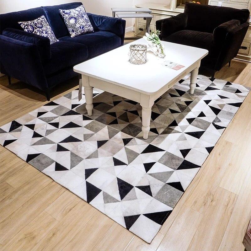 Геометрические черно белые и серые Треугольники из натуральной воловьей кожи меховой ковер для гостиной большой размер украшение офисный