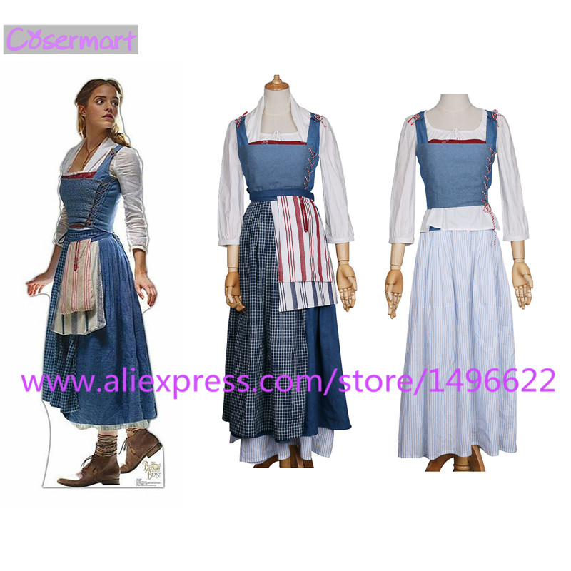 2017 Movie Beauty And The Beast Dress Maid Belle Costume Cosplay Dresses Women Adult Halloween Party