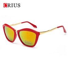 T Marca CRIUS nuevas mujeres gafas de sol de las mujeres de ojos de gato solar gafas de Diseño de metal de la vendimia gafas de sol Retro gafas de sol mujer c2