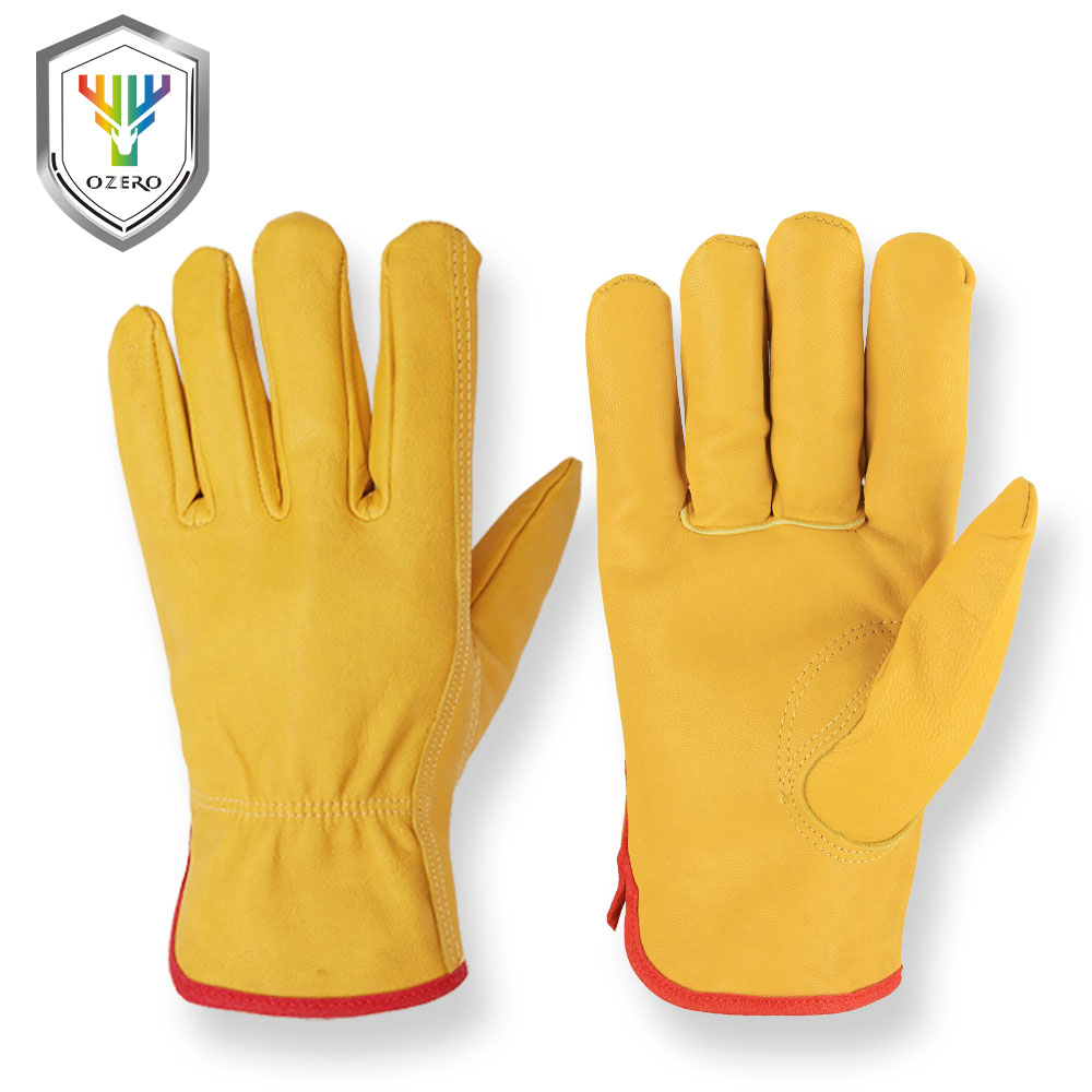 купить OZERO Men's Work Gloves Leather Security Protection Safety Cutting Working Repairman Garage Racing Gloves  Motorbike For Men0010 по цене 663.49 рублей