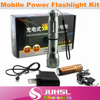 Waterproof High Quality CREE Chip 18650 Lithium Battery Mobile Power Flashlight Charger USB Charging Aluminum Flashlight