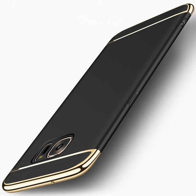 online store beaac 1d6ac US $3.49 30% OFF|for Samsung Galaxy S7 S6 / Edge Case Cover Luxury Slim  Black Matte Hard 3 in 1 360 Protective shockproof Coque for Samsung S6  S7-in ...