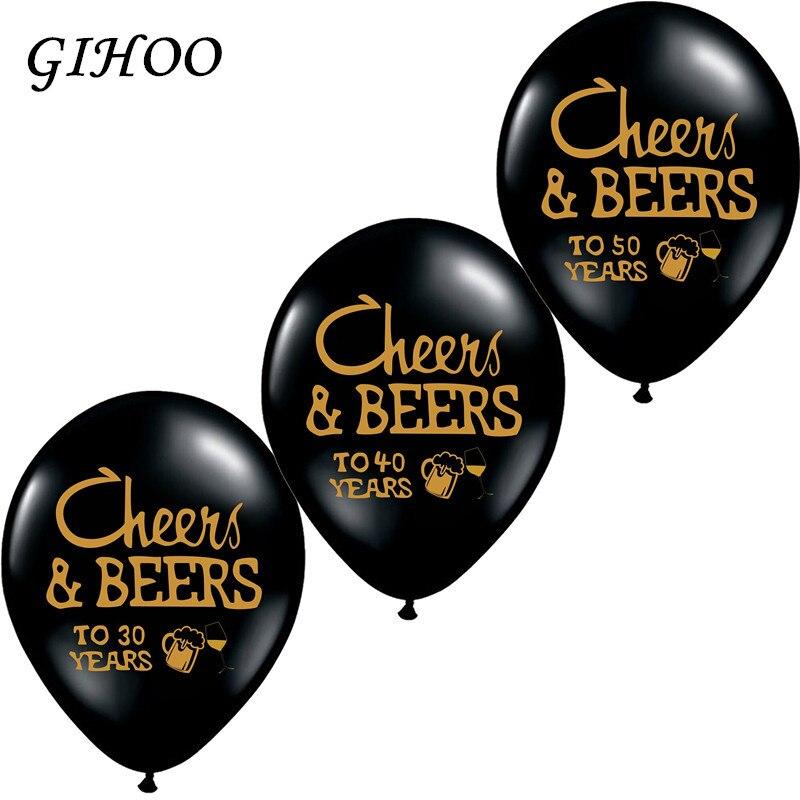 GIHOO 10 ks na zdraví a pivech na 21 30 40 50 roky Svatební výročí 10 palců latexových balónků dospělých ve věku Narozeninový dekorativní potřeby