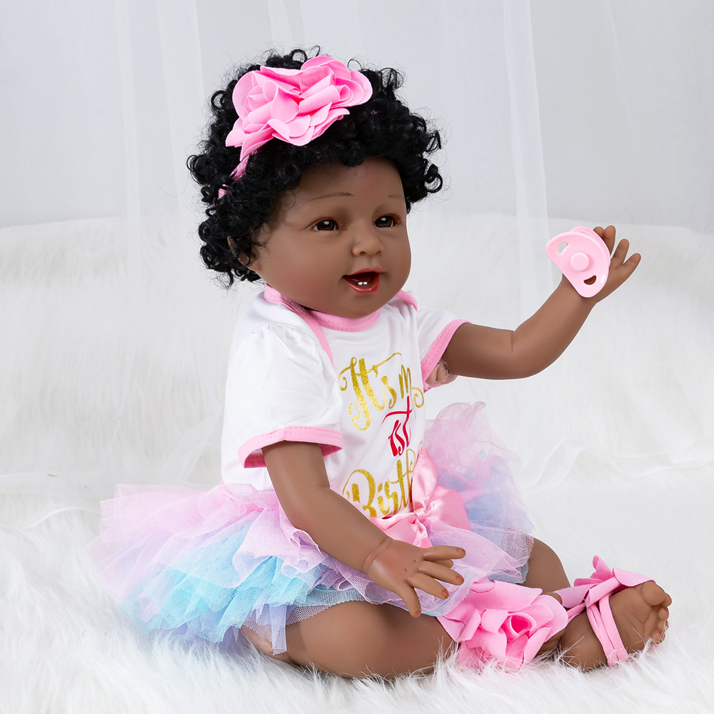 22 Inches Reborn Doll Vinyl Baby Girl Doll Toddler Appease Toys Children Pretend Play Toys Kids