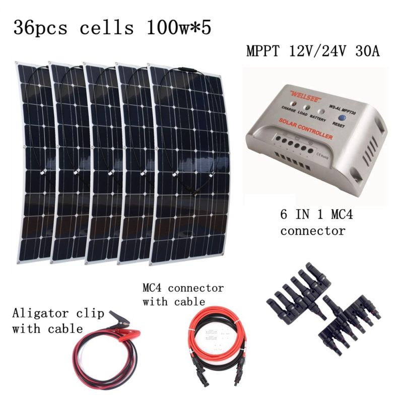 5pcs Mono 100W Solar Panels Kit with MPPT 30A Controller and Quick Connection Cables Emergency Houseuse 500W Solar Power System 4pcs 100w flexible solar panel with mppt 30a controller and mc4 y connectors for 12v battery solar charger houseuse solar kit