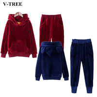 V TREE Gold Velvet Boys Clothing Set Thicken Sport Suit For Children Teenage Clothes Sets Boy