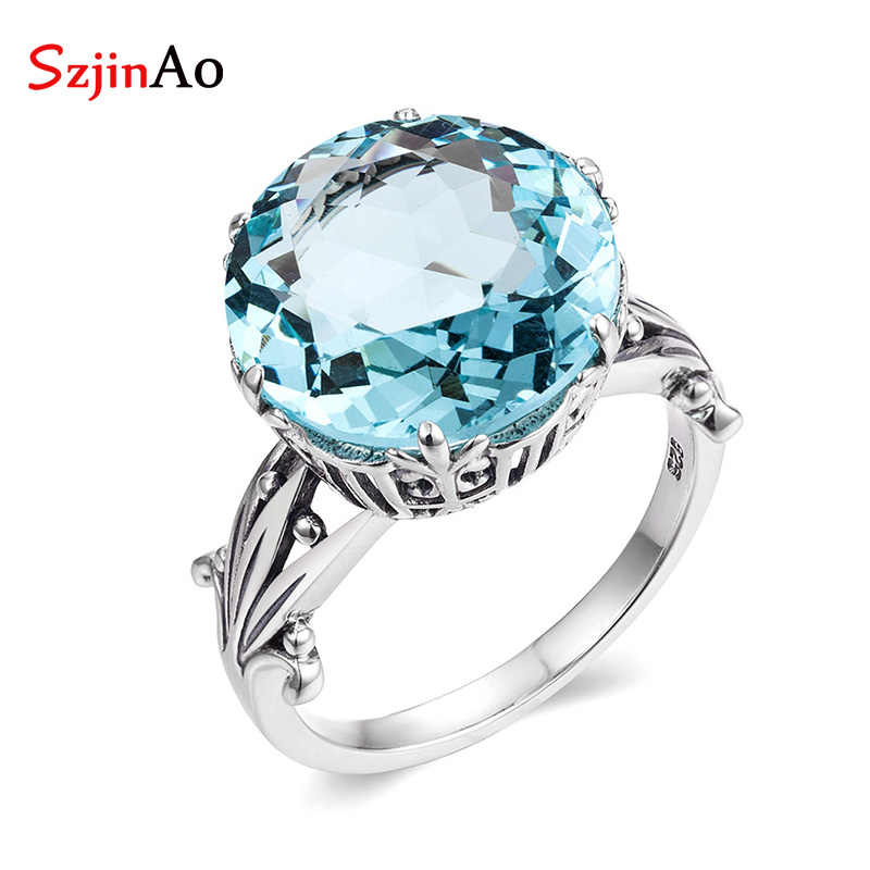 SzjinAo Handmade Charming Round solid 925 sterling silver Aquamarine แหวนมีนาคม Birthstone หรูหราเครื่องประดับ