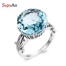 Szjinao artesanal redondo aquamarine anéis para mulher sólido 925 prata esterlina march birthstone luxo aniversário de casamento jóias