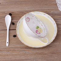 1Pcs Elegant Coffee Cup Plate Ceramic Cup Afternoon Tea Cup Novelty Gifts Daily Supplies Red Tea