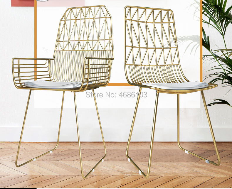Miraculous Us 147 25 5 Off Fashion Nordic Chair Luxury Gold Iron Make Up Chair Backrest Modern Floor Chair Living Room Chair Home Bedroom Furniture In Dining Machost Co Dining Chair Design Ideas Machostcouk