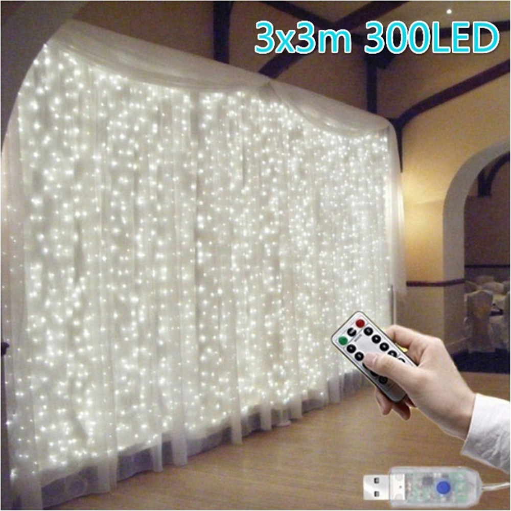 3x3M Curtain Light 300 LED Window Curtain String Light For Wedding Party Home Garden Bedroom Outdoor Indoor Wall Decorations