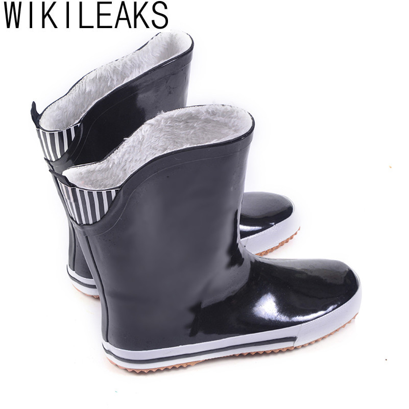 Shoes Woman 2016 Women Rain Boots Mid-Calf High Waterproof Boots Flat With Short Plush Black Handmade Plus Size Women Shoes