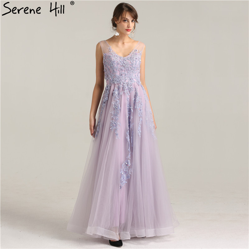 Light Purple Fashion Beach Sexy Evening Dress 2019 Appliques Sequined Sleeveless Tulle Evening Gowns Real Photo LA6269