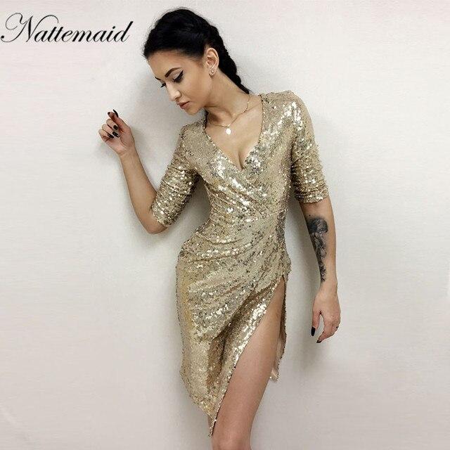 Nattemaid осень-зима платье блестящие золотые блестки Платья для женщин элегантные вечерние блестка халат сексуальный разрез Бюстье платье V шеи Vestido