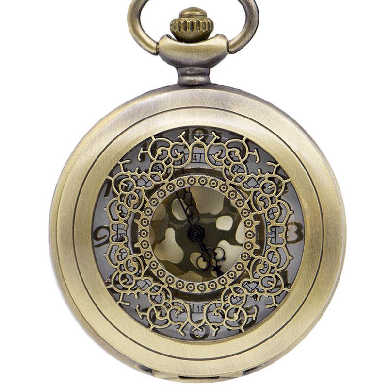 Steampunk Retro Bronze Design Unisex Pocket Watch Quartz Pendant Necklace Gift Necklace Pendant With Chain Gift