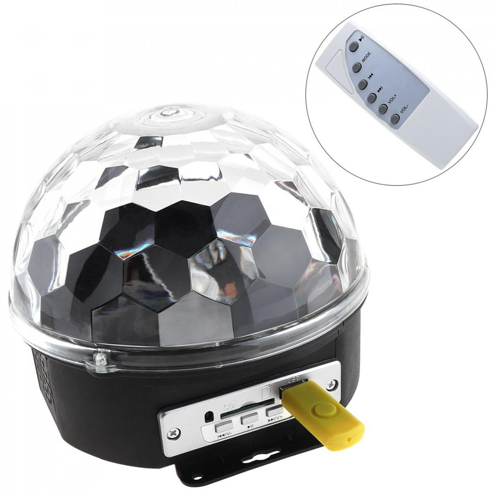 Hot Sale High Quality 6 Color LED Remote Control Music Magic Ball Effect Disco DJ Light with MP3 Function 10pairs lot fk30 ff30 ball screw end supports fixed side fk30 and floated side ff30 match with ball screw shaft