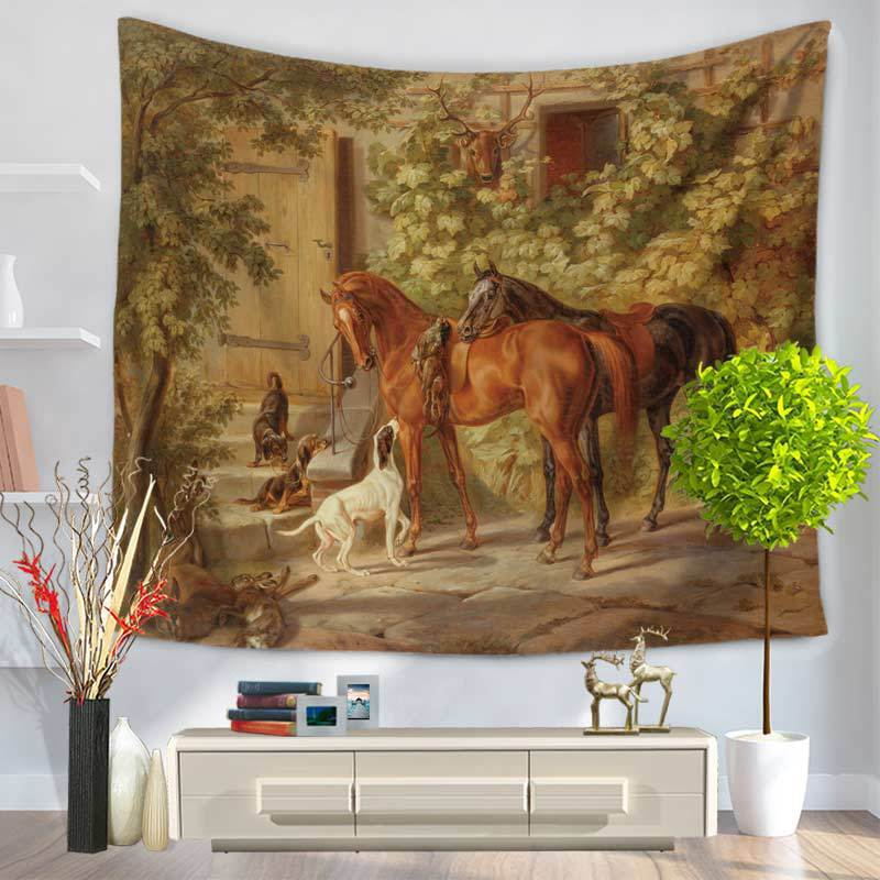 Retro Style Tapestry Wall Hanging Oil Painting Horses Tapestry Hippie Wall Hanging Picnic Mat Yoga Rug