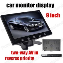 reverse priority free shipping Car Monitor display 9 inch HD Digital color TFT LCD Screen Support two ways of video input