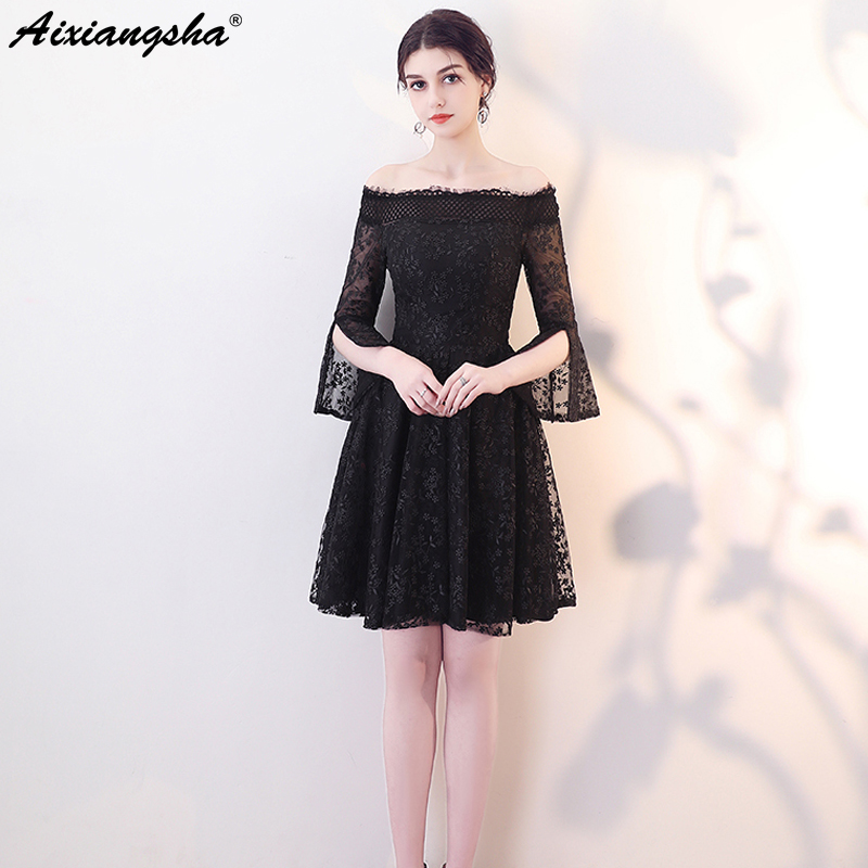 2018 Fashion Lace Celebrity Dresses Cheap Mini Black Dress Elegant Red  Carpet Dresses vestido de festa 4e6ddc2548c0