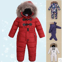 2018 New Arrive Warm Children's Down Jacket Real Fur Baby Girl Boy Jumpsuit Kids Winter Ski Suit Thickening Overalls 3 8 Years