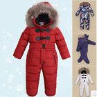 2018 New Arrive Warm Children's Down Jacket Real Fur Baby Girl Boy Jumpsuit Kids Winter Ski Suit Thickening Overalls 3-8 Years