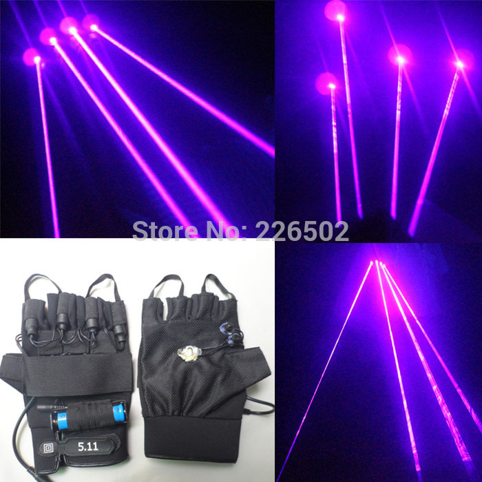 high brightness 405nm violet laser gloves with 5pcs 200mW violet laser modules and switch power adapter 18650 battery 1pcs