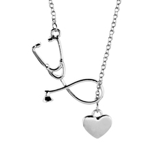 4 Colors Stethoscope Necklaces Heart and Stethoscope Lariat Pendant for Doctor Nursing Student Gift Nurse Necklace Women Jewelry
