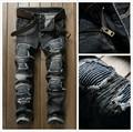 High Quality Ripped Jeans Men Classic Patchwork Moto Jeans 2017 New Mens Pants Slim Fit Jeans Hole Men Biker Denim Jean men