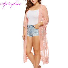 Dropshipping Women High Quality Embroidery  Lace Cardigan Long Sleeve Beach Open Kimono Blouses Tops