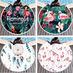 Round Beach Towel 150CM Flamingo Microfiber Round Large Beach Towel Blanket with Tassel Bohemian Picnic Yoga Mat Home decoratio
